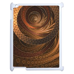 Brown, Bronze, Wicker, And Rattan Fractal Circles Apple Ipad 2 Case (white) by jayaprime