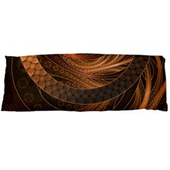 Brown, Bronze, Wicker, And Rattan Fractal Circles Body Pillow Case Dakimakura (two Sides) by jayaprime