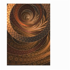 Brown, Bronze, Wicker, And Rattan Fractal Circles Large Garden Flag (two Sides) by jayaprime