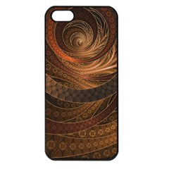 Brown, Bronze, Wicker, And Rattan Fractal Circles Apple Iphone 5 Seamless Case (black)