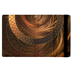 Brown, Bronze, Wicker, And Rattan Fractal Circles Apple Ipad 3/4 Flip Case by jayaprime