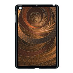 Brown, Bronze, Wicker, And Rattan Fractal Circles Apple Ipad Mini Case (black) by jayaprime