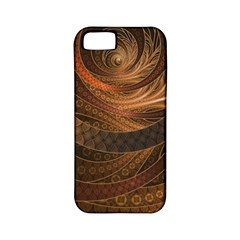Brown, Bronze, Wicker, And Rattan Fractal Circles Apple Iphone 5 Classic Hardshell Case (pc+silicone) by jayaprime