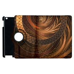 Brown, Bronze, Wicker, And Rattan Fractal Circles Apple Ipad 3/4 Flip 360 Case by jayaprime