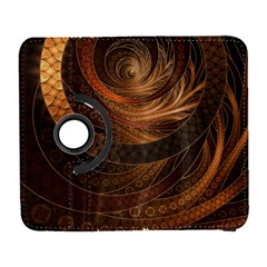 Brown, Bronze, Wicker, And Rattan Fractal Circles Galaxy S3 (flip/folio) by jayaprime