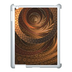 Brown, Bronze, Wicker, And Rattan Fractal Circles Apple Ipad 3/4 Case (white) by jayaprime