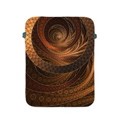Brown, Bronze, Wicker, And Rattan Fractal Circles Apple Ipad 2/3/4 Protective Soft Cases by jayaprime