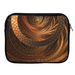Brown, Bronze, Wicker, And Rattan Fractal Circles Apple Ipad 2/3/4 Zipper Cases by jayaprime