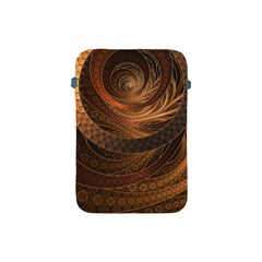 Brown, Bronze, Wicker, And Rattan Fractal Circles Apple Ipad Mini Protective Soft Cases by jayaprime