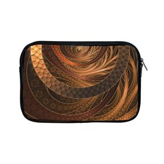 Brown, Bronze, Wicker, And Rattan Fractal Circles Apple Ipad Mini Zipper Cases by jayaprime