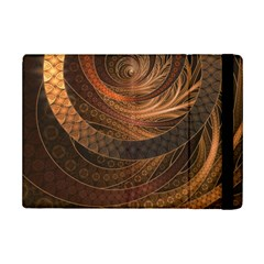 Brown, Bronze, Wicker, And Rattan Fractal Circles Ipad Mini 2 Flip Cases by jayaprime