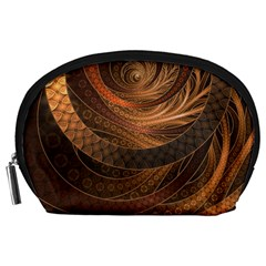 Brown, Bronze, Wicker, And Rattan Fractal Circles Accessory Pouches (large)  by jayaprime