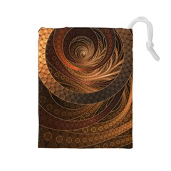 Brown, Bronze, Wicker, And Rattan Fractal Circles Drawstring Pouches (large)  by jayaprime