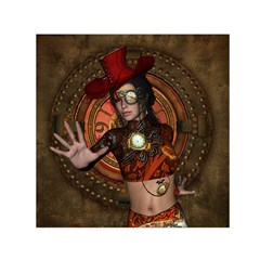 Steampunk, Wonderful Steampunk Lady Small Satin Scarf (square)  by FantasyWorld7