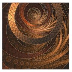 Brown, Bronze, Wicker, And Rattan Fractal Circles Large Satin Scarf (square) by jayaprime