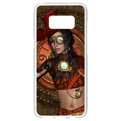 Steampunk, Wonderful Steampunk Lady Samsung Galaxy S8 White Seamless Case by FantasyWorld7
