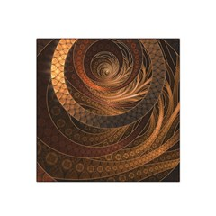 Brown, Bronze, Wicker, And Rattan Fractal Circles Satin Bandana Scarf by jayaprime