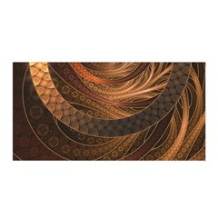 Brown, Bronze, Wicker, And Rattan Fractal Circles Satin Wrap by jayaprime