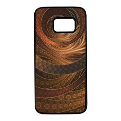 Brown, Bronze, Wicker, And Rattan Fractal Circles Samsung Galaxy S7 Black Seamless Case by jayaprime