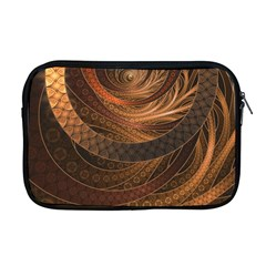 Brown, Bronze, Wicker, And Rattan Fractal Circles Apple Macbook Pro 17  Zipper Case by jayaprime