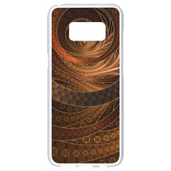 Brown, Bronze, Wicker, And Rattan Fractal Circles Samsung Galaxy S8 White Seamless Case by jayaprime