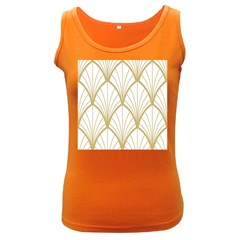 Art Deco, Beautiful,fan Pattern, Gold,white,vintage,1920 Era, Elegant,chic,vintage Women s Dark Tank Top