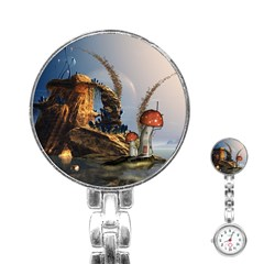 Wonderful Seascape With Mushroom House Stainless Steel Nurses Watch by FantasyWorld7