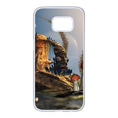 Wonderful Seascape With Mushroom House Samsung Galaxy S7 Edge White Seamless Case by FantasyWorld7