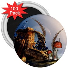 Wonderful Seascape With Mushroom House 3  Magnets (100 Pack) by FantasyWorld7