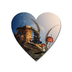 Wonderful Seascape With Mushroom House Heart Magnet by FantasyWorld7