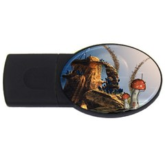 Wonderful Seascape With Mushroom House Usb Flash Drive Oval (4 Gb) by FantasyWorld7