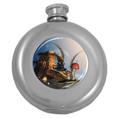 Wonderful Seascape With Mushroom House Round Hip Flask (5 Oz) by FantasyWorld7