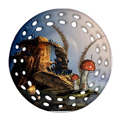 Wonderful Seascape With Mushroom House Round Filigree Ornament (two Sides) by FantasyWorld7