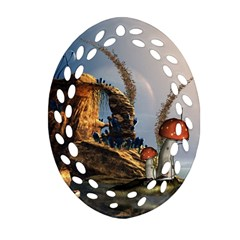 Wonderful Seascape With Mushroom House Ornament (oval Filigree) by FantasyWorld7