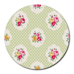 Green Shabby Chic Round Mousepads by 8fugoso