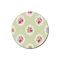 Green Shabby Chic Rubber Coaster (round)  by 8fugoso