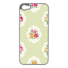 Green Shabby Chic Apple Iphone 5 Case (silver) by 8fugoso