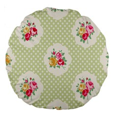 Green Shabby Chic Large 18  Premium Round Cushions by 8fugoso