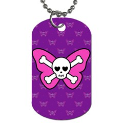 Cute Butterfly Skull Dog Tag (two-sided)