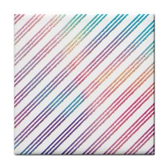 Colored Candy Striped Tile Coasters by Colorfulart23