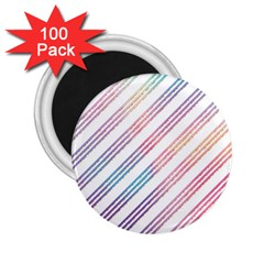 Colored Candy Striped 2 25  Magnets (100 Pack)  by Colorfulart23
