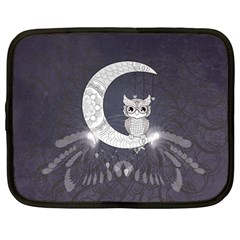 Mandala, Cute Owl On The Moon Netbook Case (large) by FantasyWorld7