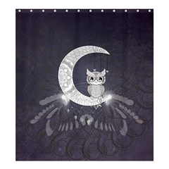 Mandala, Cute Owl On The Moon Shower Curtain 66  X 72  (large)  by FantasyWorld7