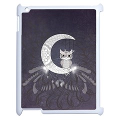 Mandala, Cute Owl On The Moon Apple Ipad 2 Case (white) by FantasyWorld7