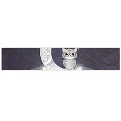 Mandala, Cute Owl On The Moon Flano Scarf (large)  by FantasyWorld7