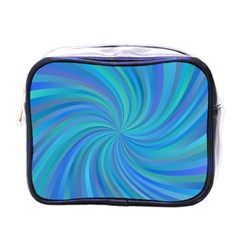 Blue Background Spiral Swirl Mini Toiletries Bags by Celenk
