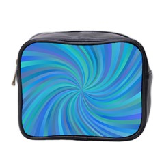Blue Background Spiral Swirl Mini Toiletries Bag 2 Side by Celenk