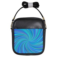 Blue Background Spiral Swirl Girls Sling Bags by Celenk