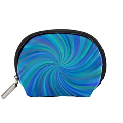 Blue Background Spiral Swirl Accessory Pouches (small)