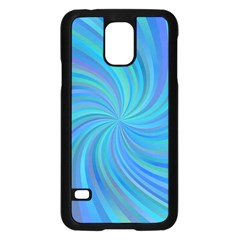 Blue Background Spiral Swirl Samsung Galaxy S5 Case (black) by Celenk